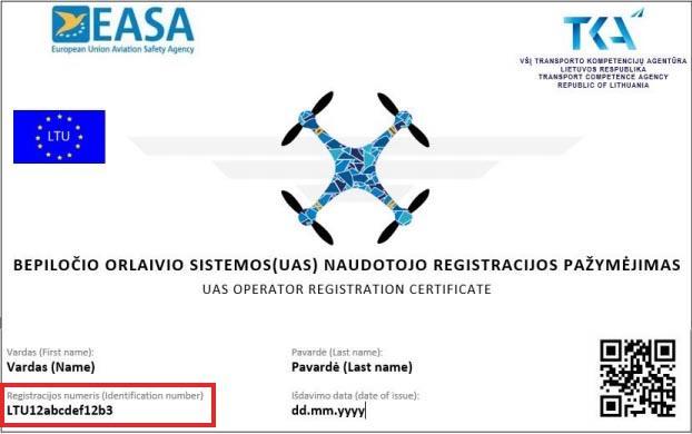 Drono registracijos pažymėjimas